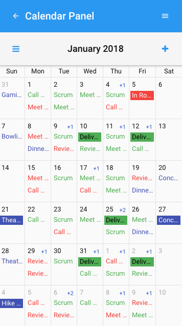 Calendar Panel on Android 8