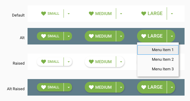 Round SplitButton examples showing text and Icon with confirm styling