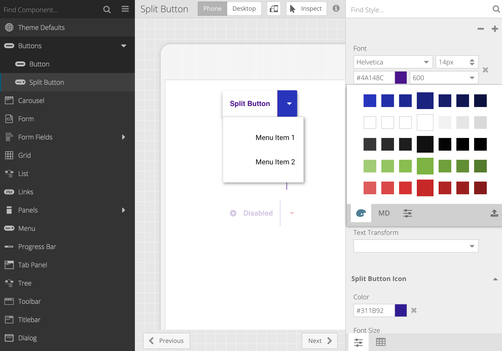 Shown: New Ext JS 6.5.3 SplitButton component with custom theme