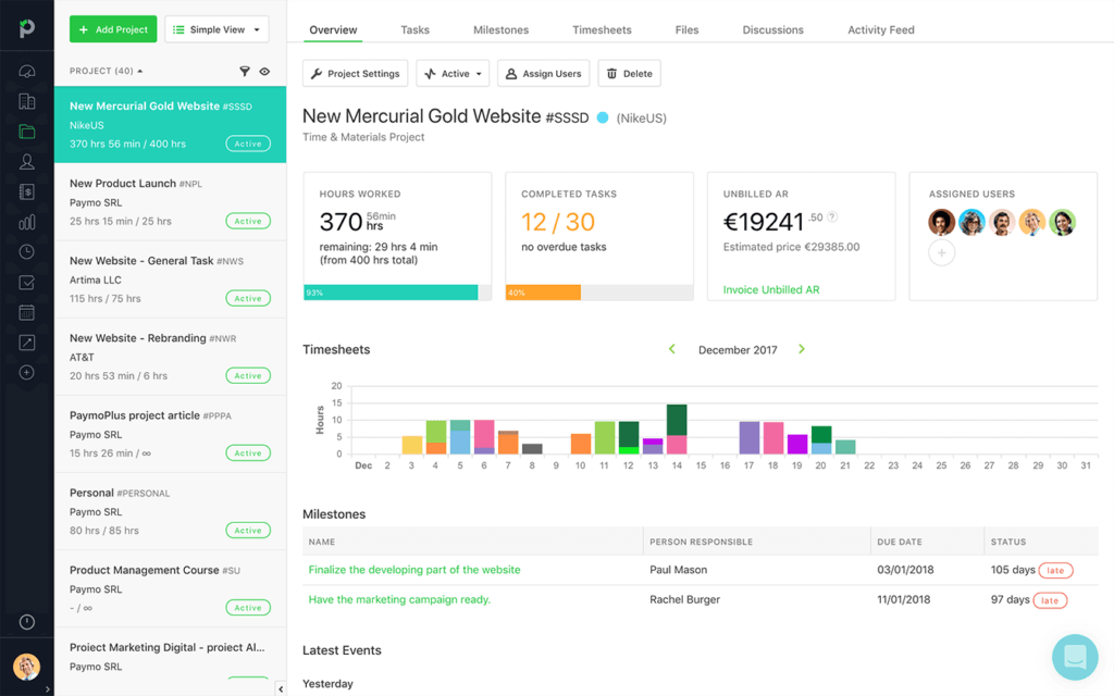 Paymo Dashboard built on Ext JS. Paymo helps your team seamlessly manage projects through their entire life cycle, from initiation to planning, working, making adjustments, and getting paid.