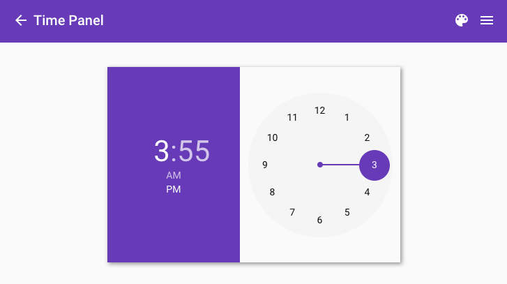Time Panel when the device is in landscape orientation