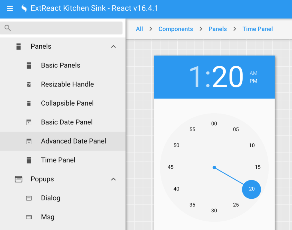ExtReact Kitchen Sink example showing Time Panel