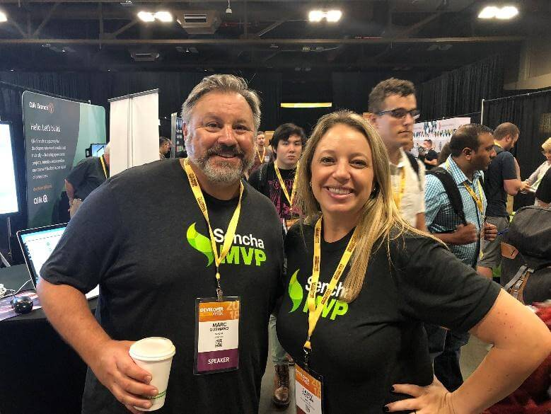 Sencha Solutions Architect Marc Gusmano and Senior Marketing Manager Casey Crowder answered attendee questions in a busy booth at Developer Week.