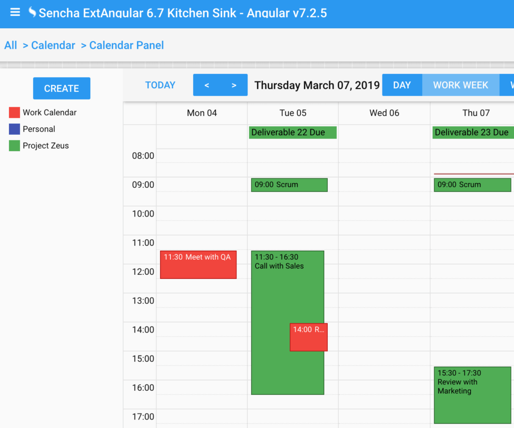 ExtAngular Calendar Component