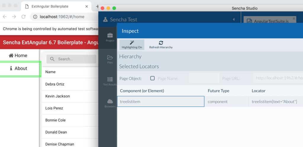 Inspecting ExtAngular apps using Sencha Test