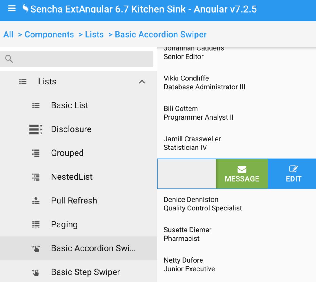 ExtAngular List Component